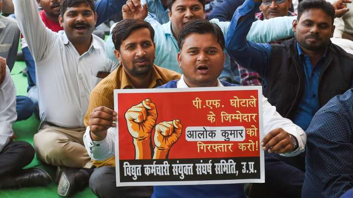 UPPCL employees raise slogans as they began their 48-hour work boycott, in Lucknow.- India TV