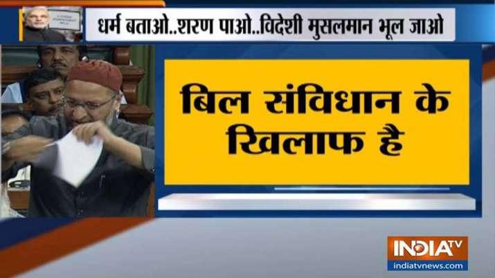 Asaduddin Owaisi tears copy of Citizenship Bill in Lok Sabha- India TV
