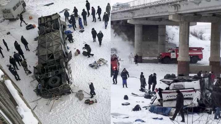 Bus plunges onto frozen river, Bus crash in Russia, Bus crash in Siberia- India TV