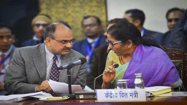 Union Finance Minister Nirmala Sitharaman and Revenue Secretary Ajay Bhushan at the 38th GST Council- India TV Paisa